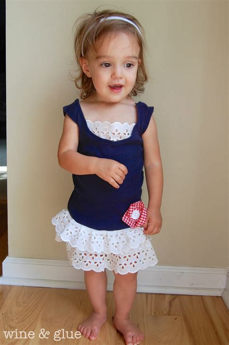 Cutie Top 2 toddler tank dress upcycled wine glue