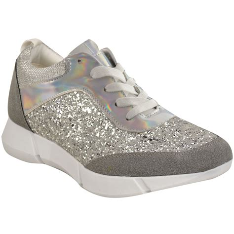 womens glitter sneakers womens glitter trainers sneakers casual fashion
