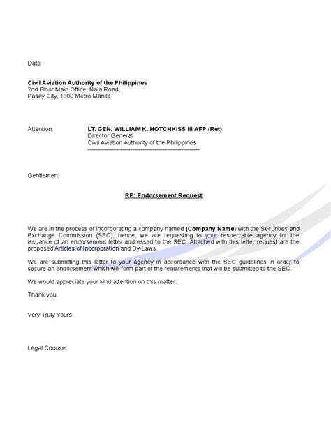Endorsement Letter From Doh endorsement caap letter sle docshare tips