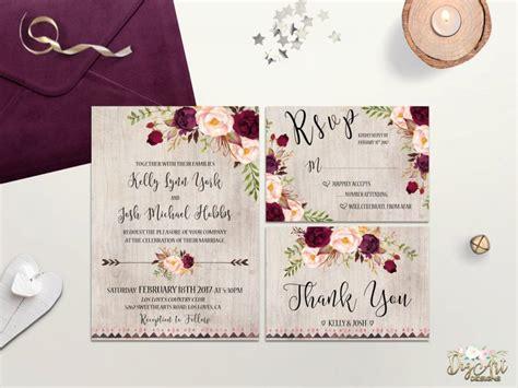 Wedding Invitations Burgundy by Rustic Wedding Invitation Printable Boho Wedding Invite