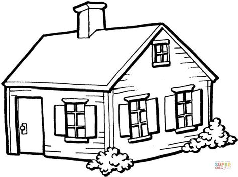 small house in the village coloring page free printable