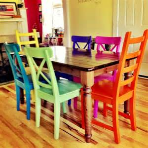 Rustoleum spray painted chairs these remind me of all the colored