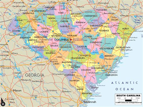 map of carolina cities political map of south carolina ezilon maps