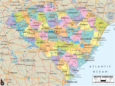 Political Map of South Carolina   Ezilon Maps