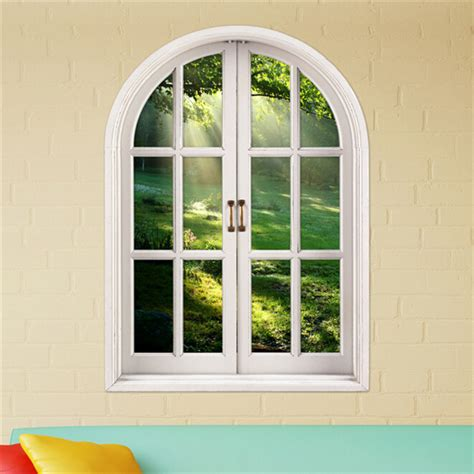 3d brightness of forest stickers artificial window view 3d