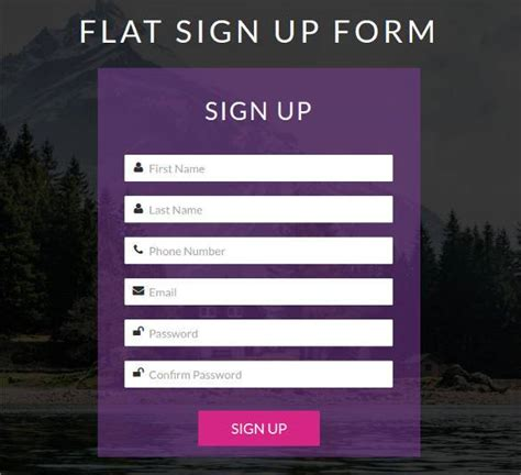 sign up form template free html5 signup registration forms 20 free html css