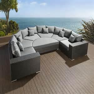 large outdoor garden u shape 8 seater sofa black