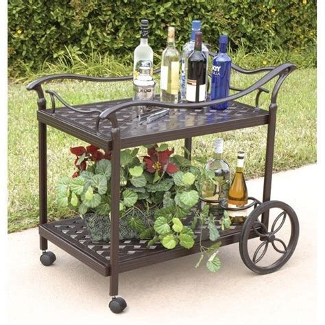 patio serving carts on wheels serving bar cart tea cast aluminum indoor outdoor was 449