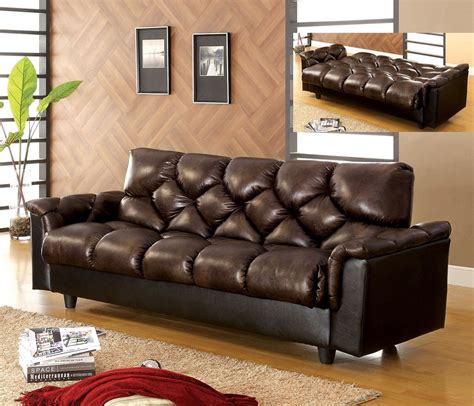 leather futon with storage futon sofa bed dark brown finish leather like plush under