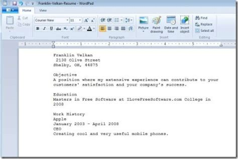 windows resume builder