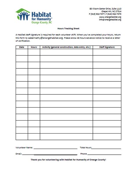 volunteer verification form template volunteer orange county habitat for humanity