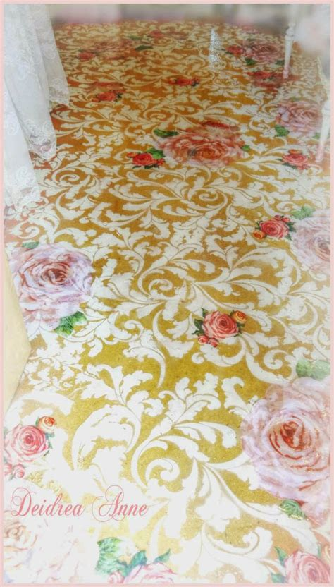 reloved stenciled decoupaged glitter floor this was icky