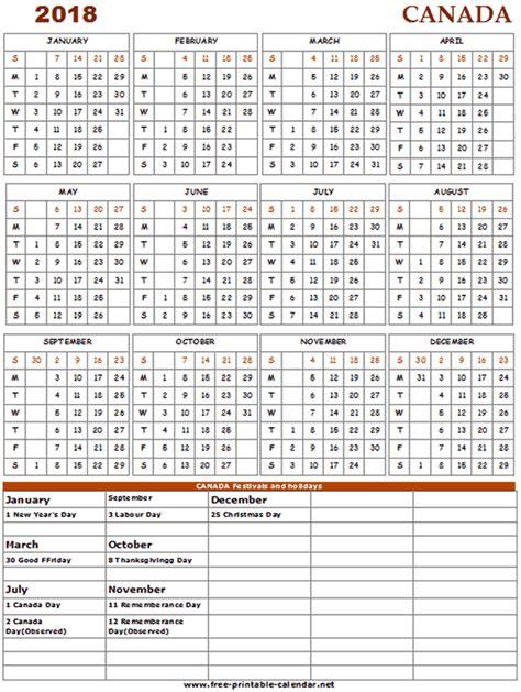 2018 Calendar Canadian Holidays 2018 Canada Calendar Print Calendars