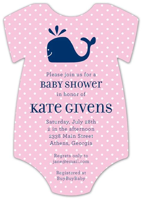 pink onesie baby shower invitations images pink whale cutie onesie baby shower invitations for girls