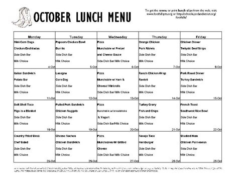 School Lunch Menu Template Invitation Template Free School Menu Templates