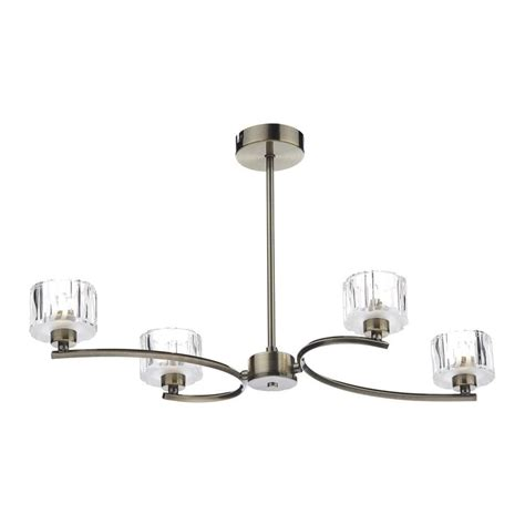 Lag0475 Laguna 4 Light Modern Antique Brass And Crystal Modern Semi Flush Ceiling Lights
