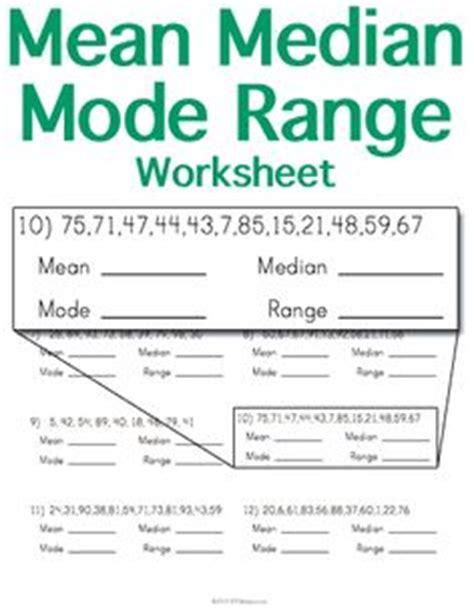 printable worksheets mean median mode range mean median mode range worksheets 7th grade math