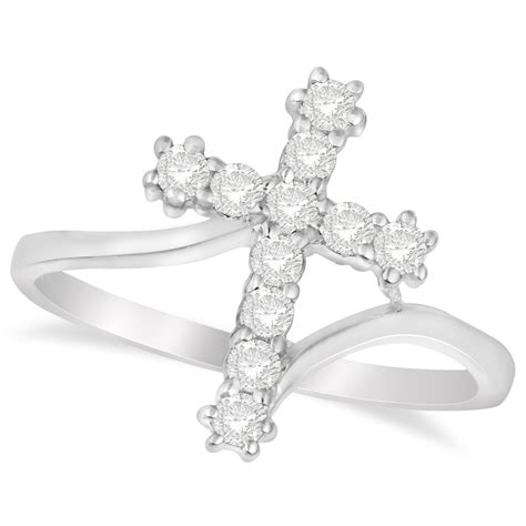 religious cross twisted ring 14k white gold 0