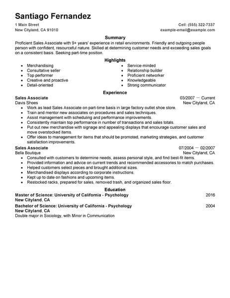 Part Time Resume Exles by Best Part Time Sales Associates Resume Exle Livecareer