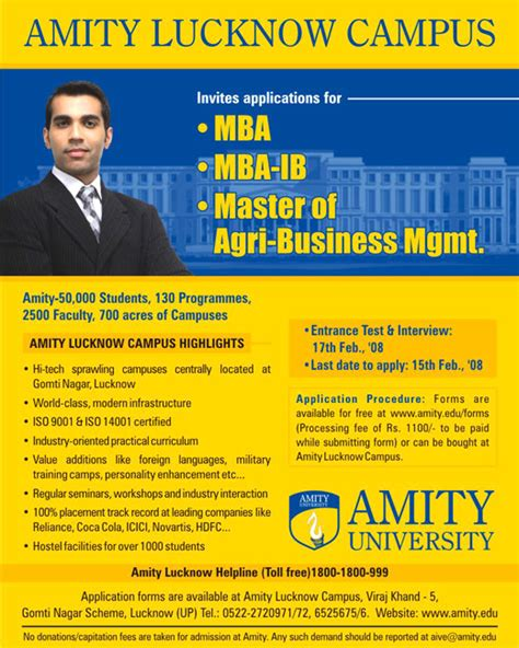 Amity Lucknow Fee Structure For Mba by Amity