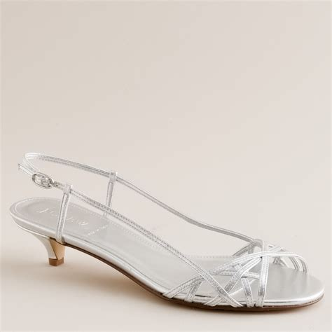 silver kitten heel sandals j crew jillian strappy kitten heels in white metallic