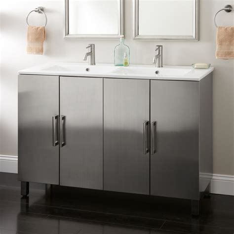 Stainless Steel Bathroom Vanity Cabinet by 48 Quot Fasula Stainless Steel Vanity Modern