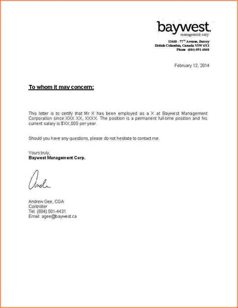 Letter For Proof Of Employment And Income Letter Format 187 Income Letter Format Cover Letter And Resume Sles