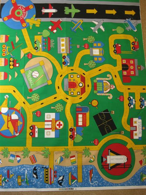 Mat Fabric by Play Mat Fabric Panel Car Plane Boat Town By Fabri Quilt