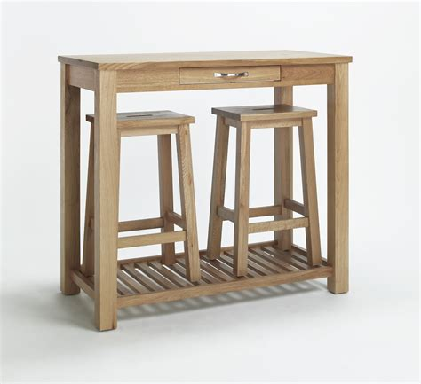 Breakfast Table With 2 Stools by Compton Solid Oak Kitchen Furniture Breakfast Dining Table