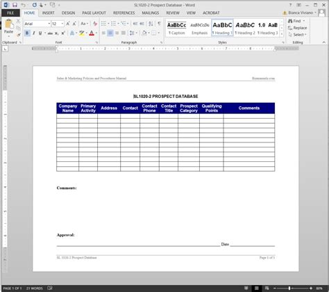 database templates prospect database template