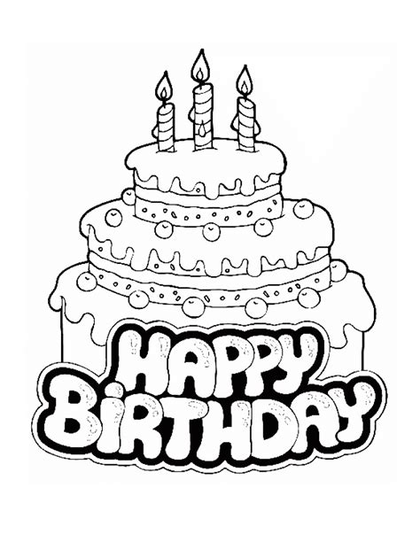 Happy Birthday Cake Coloring Page Coloring Pages Birthday Cake Color Page