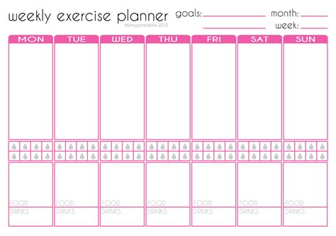 printable workout planner merryprintables free weekly exercise planner