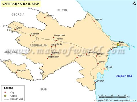 azerbaijan rail map railway map  azerbaijan