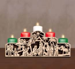 This beautiful stepped scroll saw nativity scene candelabra to dress