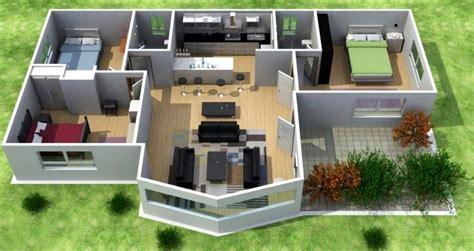 habitacion 3d plano de casa moderna de 3 dormitorios en 3d
