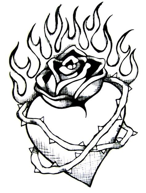 hard rose coloring pages drawings of hearts on fire clipart best cliparts co