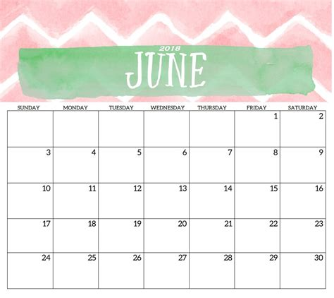 free may june 2018 blank calendar printable template