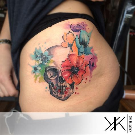 watercolor tattoo skull watercolor skull n flowers by koraykaragozler on deviantart