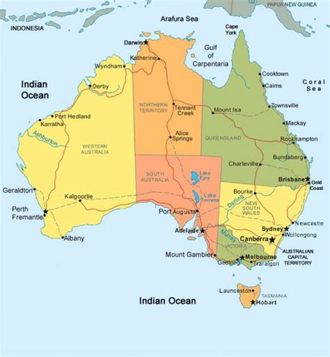 map of australia with territories obryadii00 map of australia showing states and territories