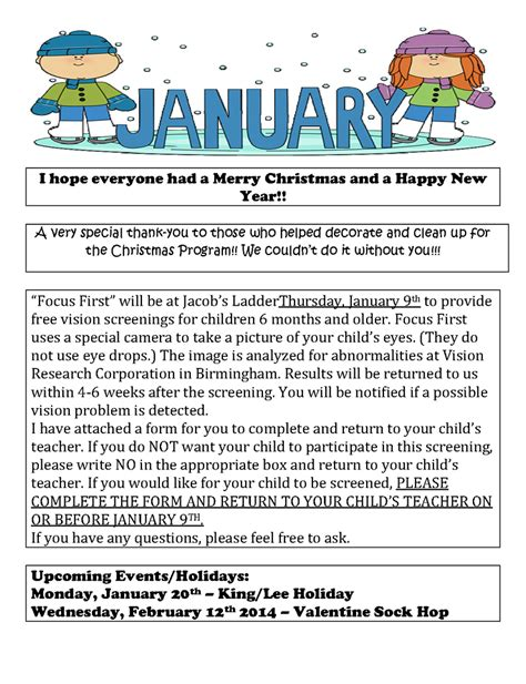 january preschool newsletter template like success