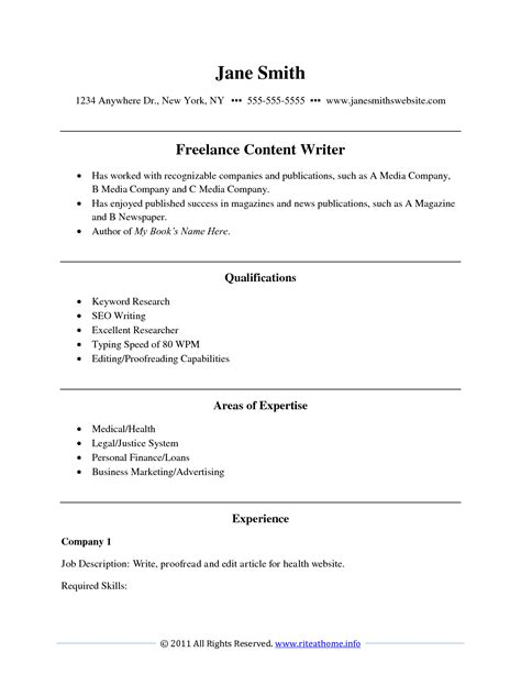 Writers Resume Template by Writers Resume Resume Templates