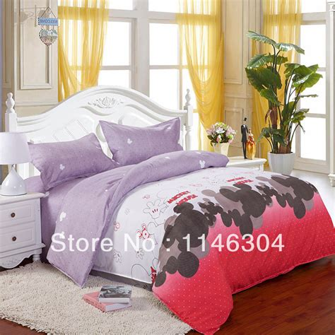 bed in a bag full 4pcs mickey mouse fleece fabric bedding set bed in a bag