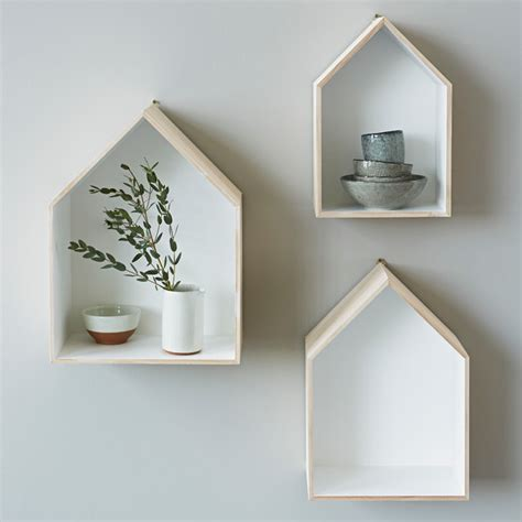 House Shelf set of 3 house box shelves contemporary display and