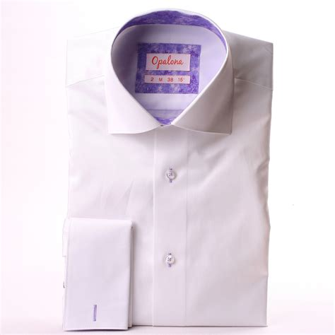 pattern shirt with white collar white french cuffs shirt with lilac pattern collar and cuffs