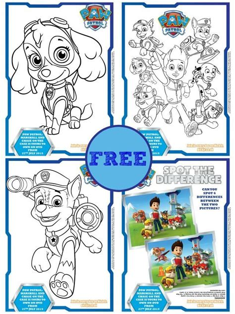 next day 4 color free paw patrol coloring books activity sheets kiddycharts