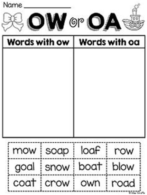ow pattern words oa and ow vowel digraphs posters and worksheets vowel