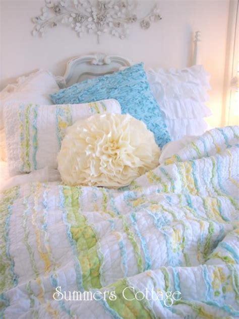 yellow shabby chic bedding summer ruffles cottage blue flowers yellow green rag