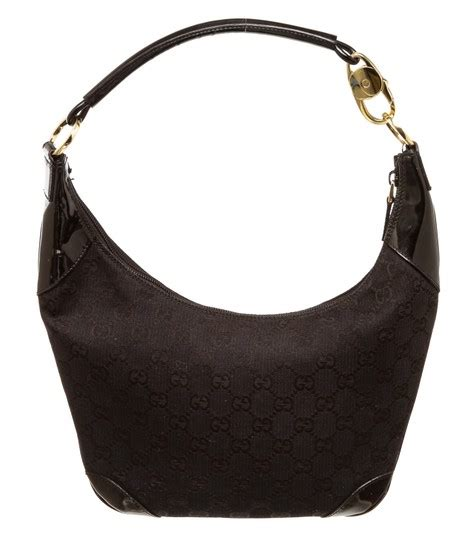 gucci   monogram mini black canvas  hobo bag tradesy