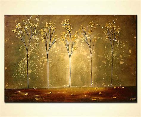 painting  sale golden naked trees forest earth tones