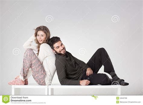 for couples happy in pyjama posing in the studio royalty free